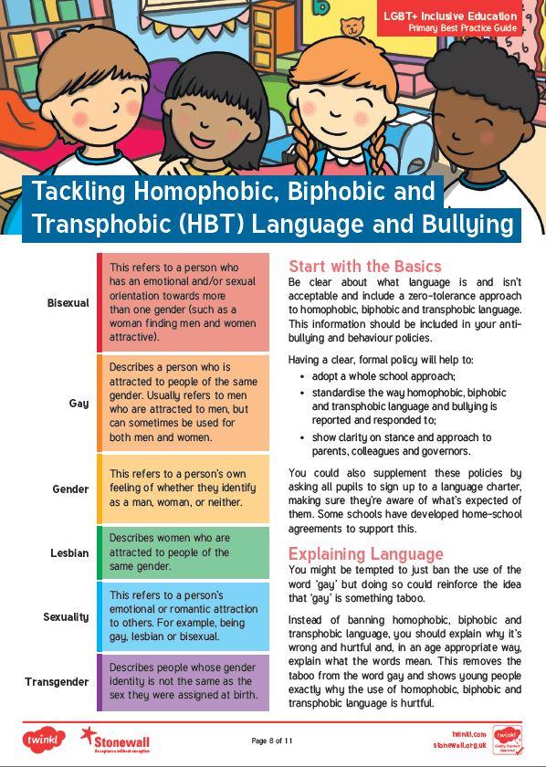Tackling HBT language and bullying (Stonewall guidance)